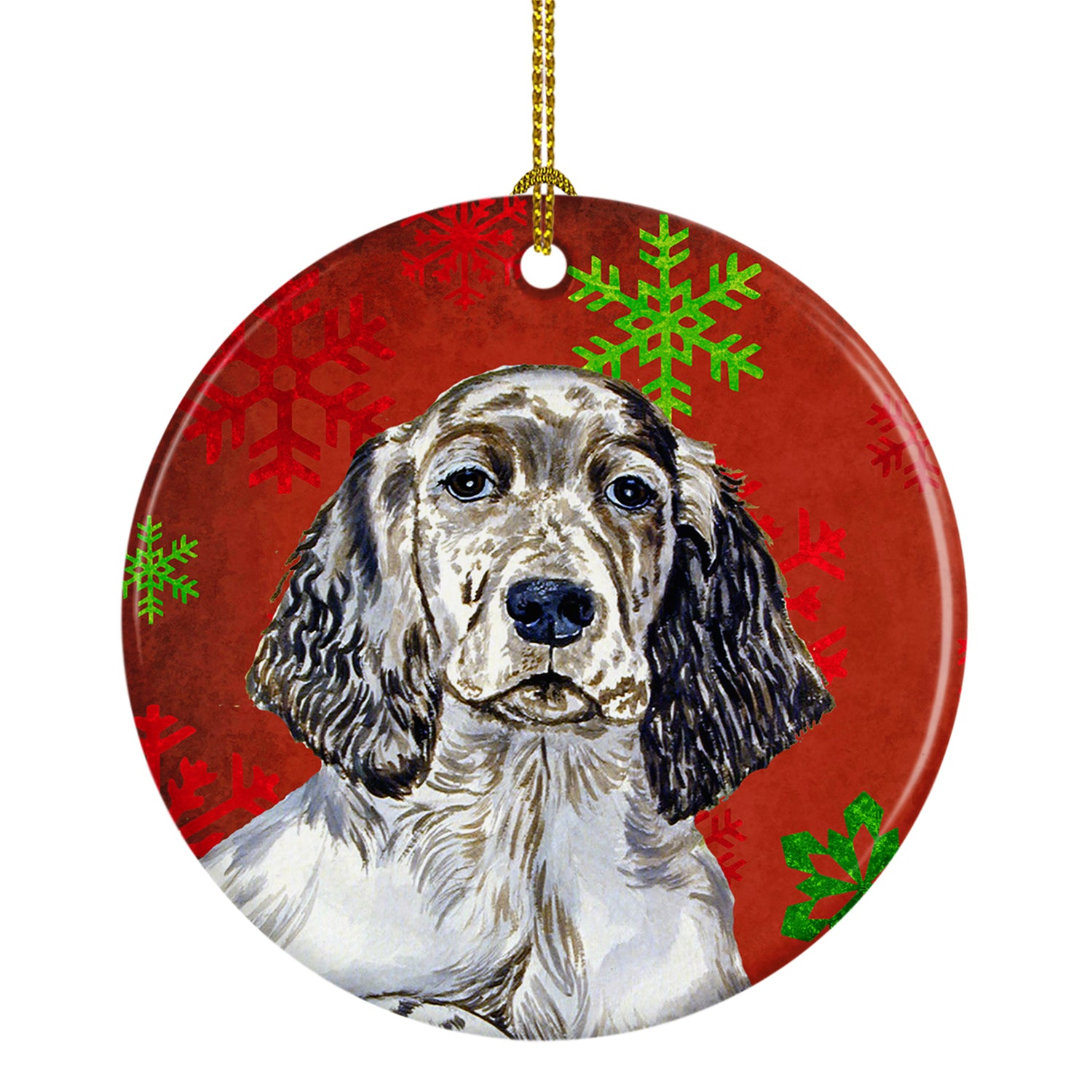 English Setter Red Snowflake Holiday Christmas Ceramic Ornament LH9322 by Caroline's Treasures