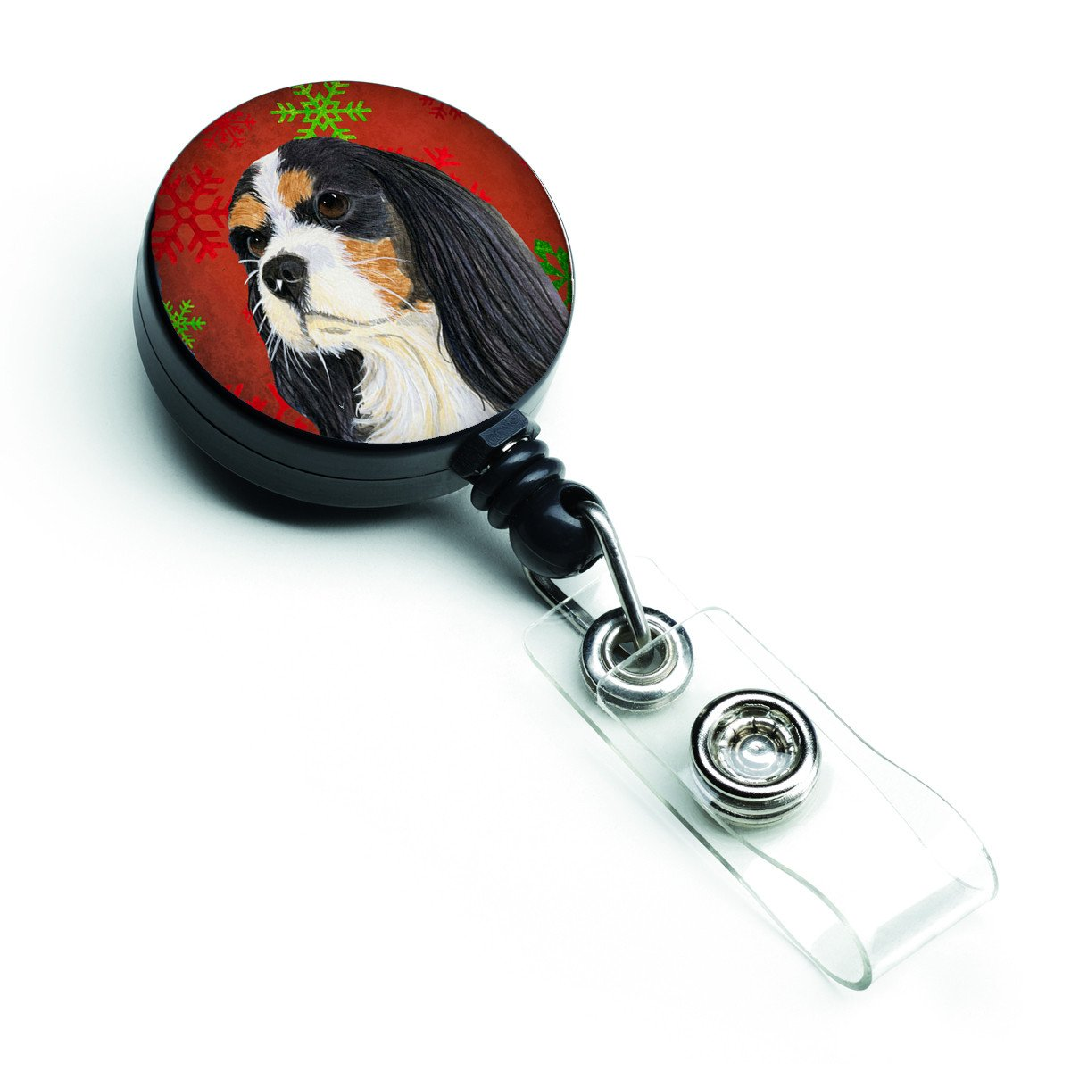 Cavalier Spaniel Red and Green Snowflakes Holiday Christmas Retractable Badge Reel LH9324BR by Caroline's Treasures