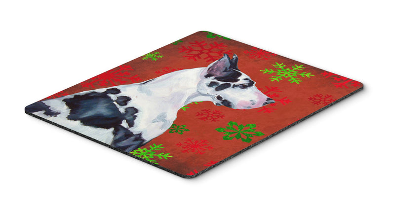 Buy this Great Dane Red and Green Snowflakes Christmas Mouse Pad, Hot Pad or Trivet