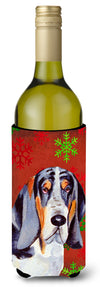 Buy this Basset Hound Snowflakes Holiday Christmas Wine Bottle Beverage Insulator Beverage Insulator Hugger