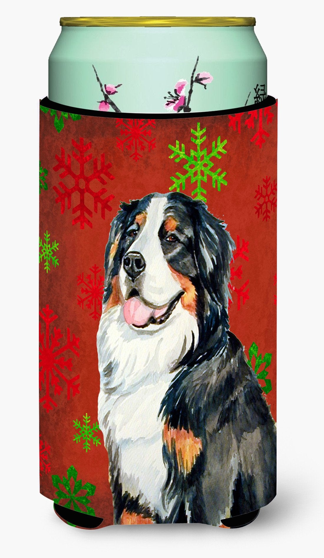 Bernese Mountain Dog Snowflakes Holiday Christmas  Tall Boy Beverage Insulator Beverage Insulator Hugger by Caroline's Treasures