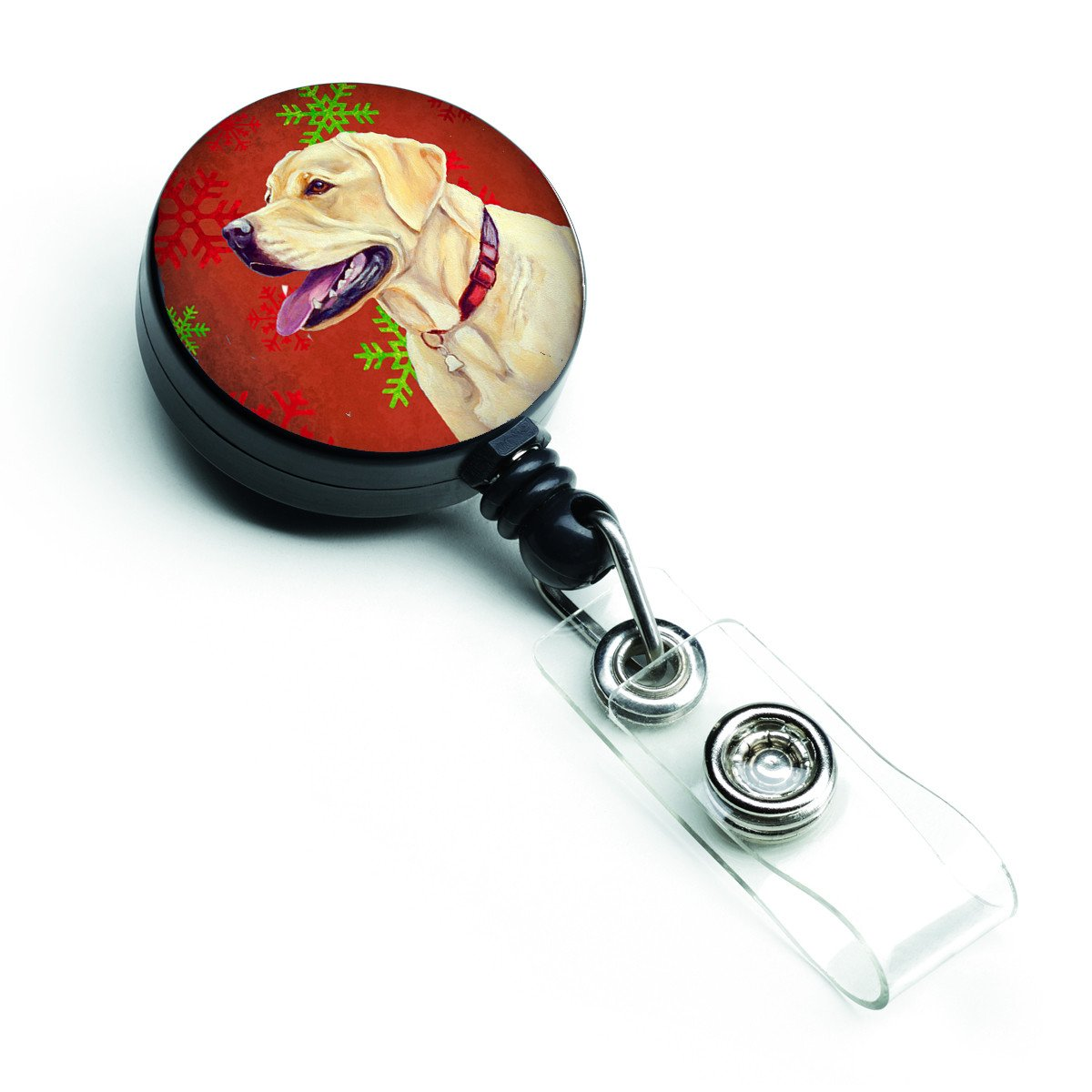 Buy this Labrador Red and Green Snowflakes Holiday Christmas Retractable Badge Reel LH9338BR