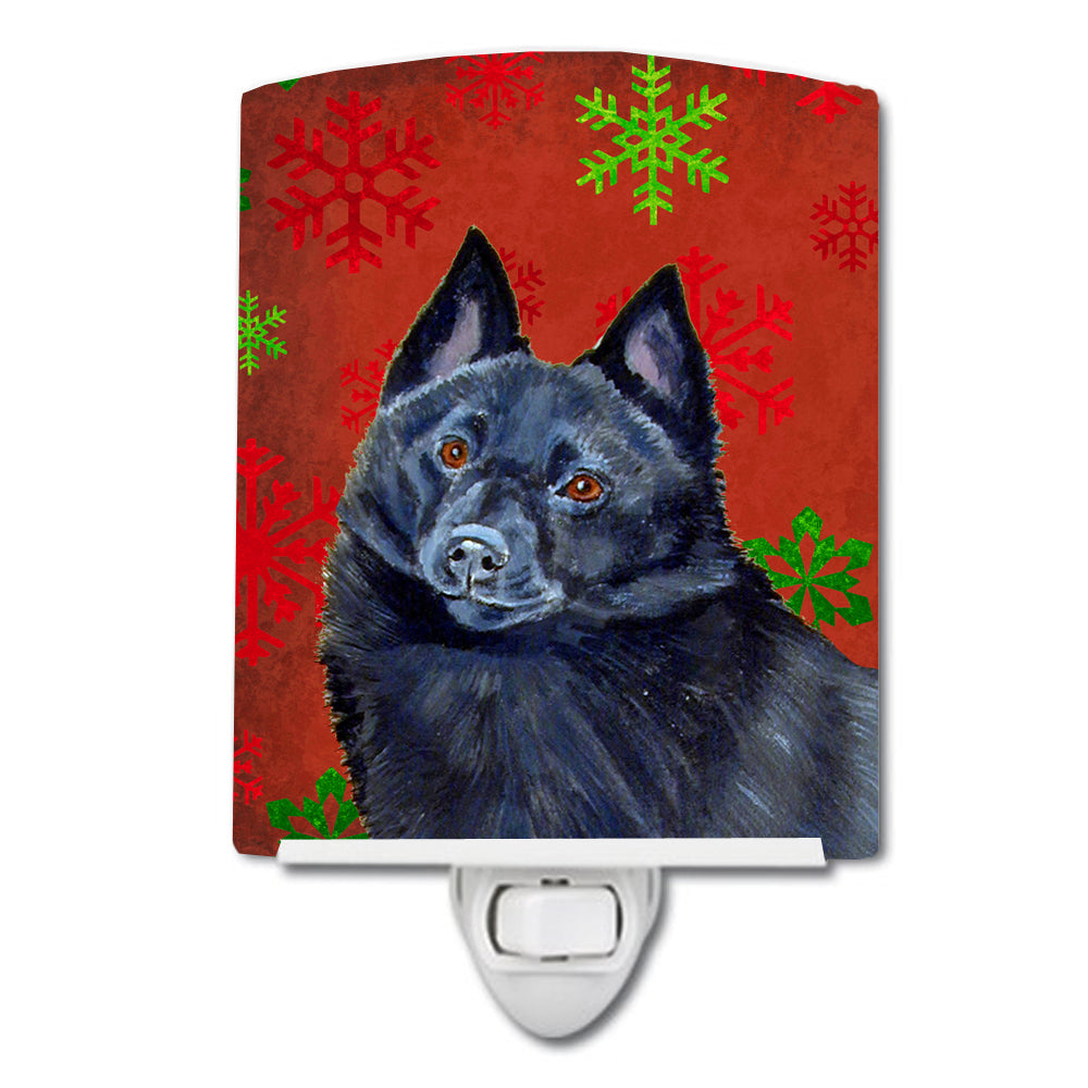 Buy this Schipperke Red and Green Snowflakes Holiday Christmas Ceramic Night Light LH9339CNL
