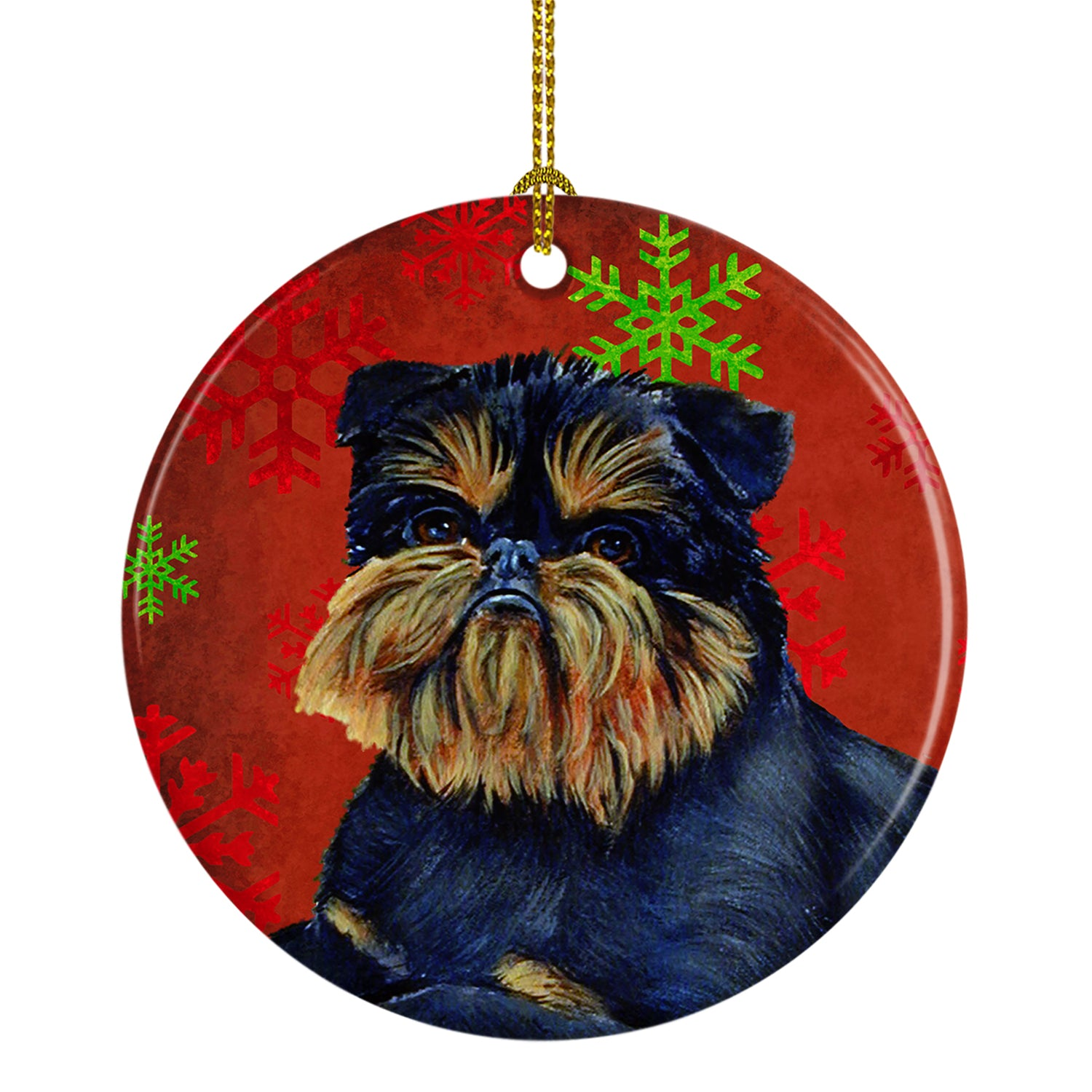 Brussels Griffon Red Snowflake Holiday Christmas Ceramic Ornament LH9343 by Caroline's Treasures