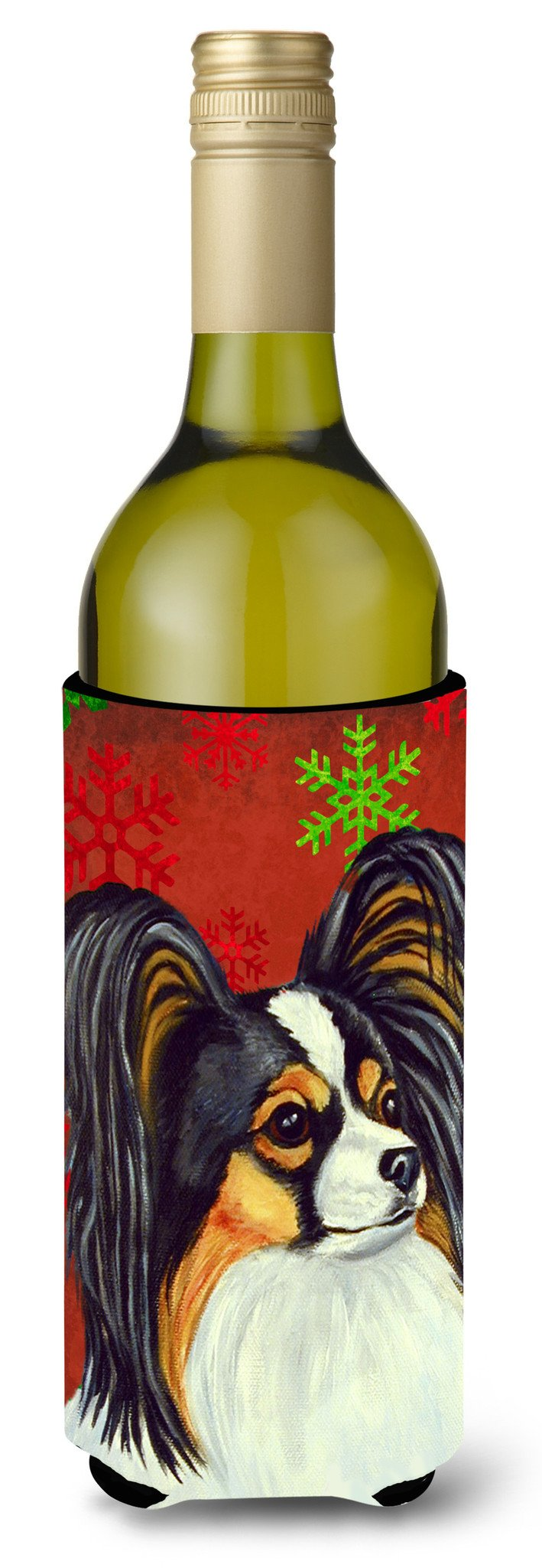 Papillon Red and Green Snowflakes Holiday Christmas Wine Bottle Beverage Insulator Beverage Insulator Hugger by Caroline's Treasures