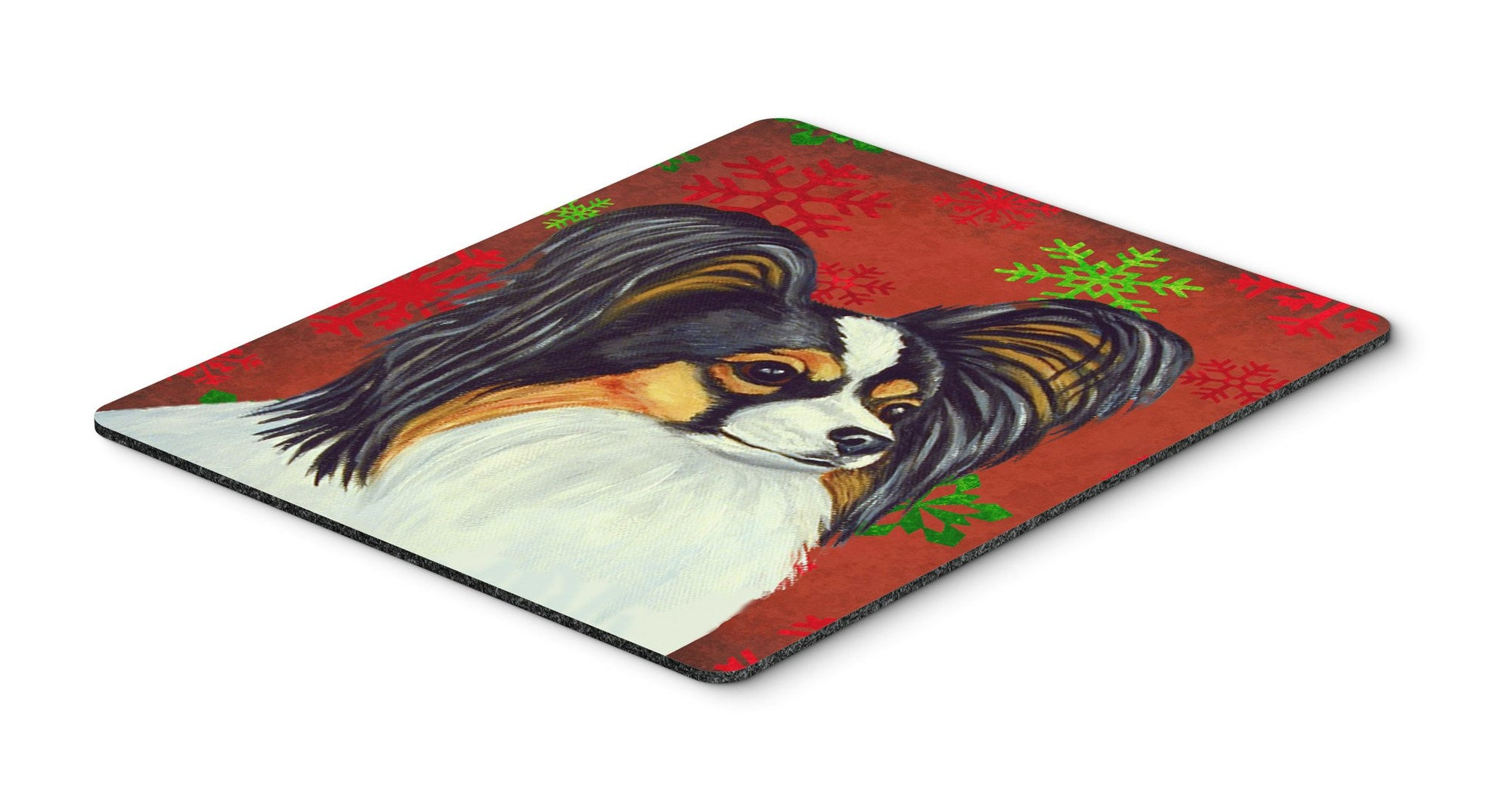 Papillon Red and Green Snowflakes  Christmas Mouse Pad, Hot Pad or Trivet by Caroline's Treasures