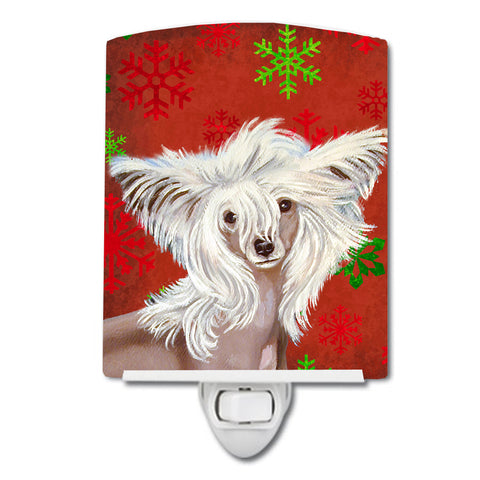 Buy this Chinese Crested Red and Green Snowflakes Holiday Christmas Ceramic Night Light LH9347CNL