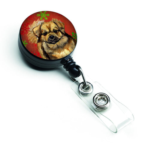 Buy this Tibetan Spaniel Red Green Snowflake Holiday Christmas Retractable Badge Reel LH9349BR