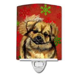 Buy this Tibetan Spaniel Red Green Snowflake Holiday Christmas Ceramic Night Light LH9349CNL