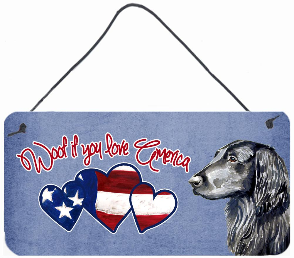 Woof if you love America Flat Coated Retriever Wall or Door Hanging Prints by Caroline's Treasures