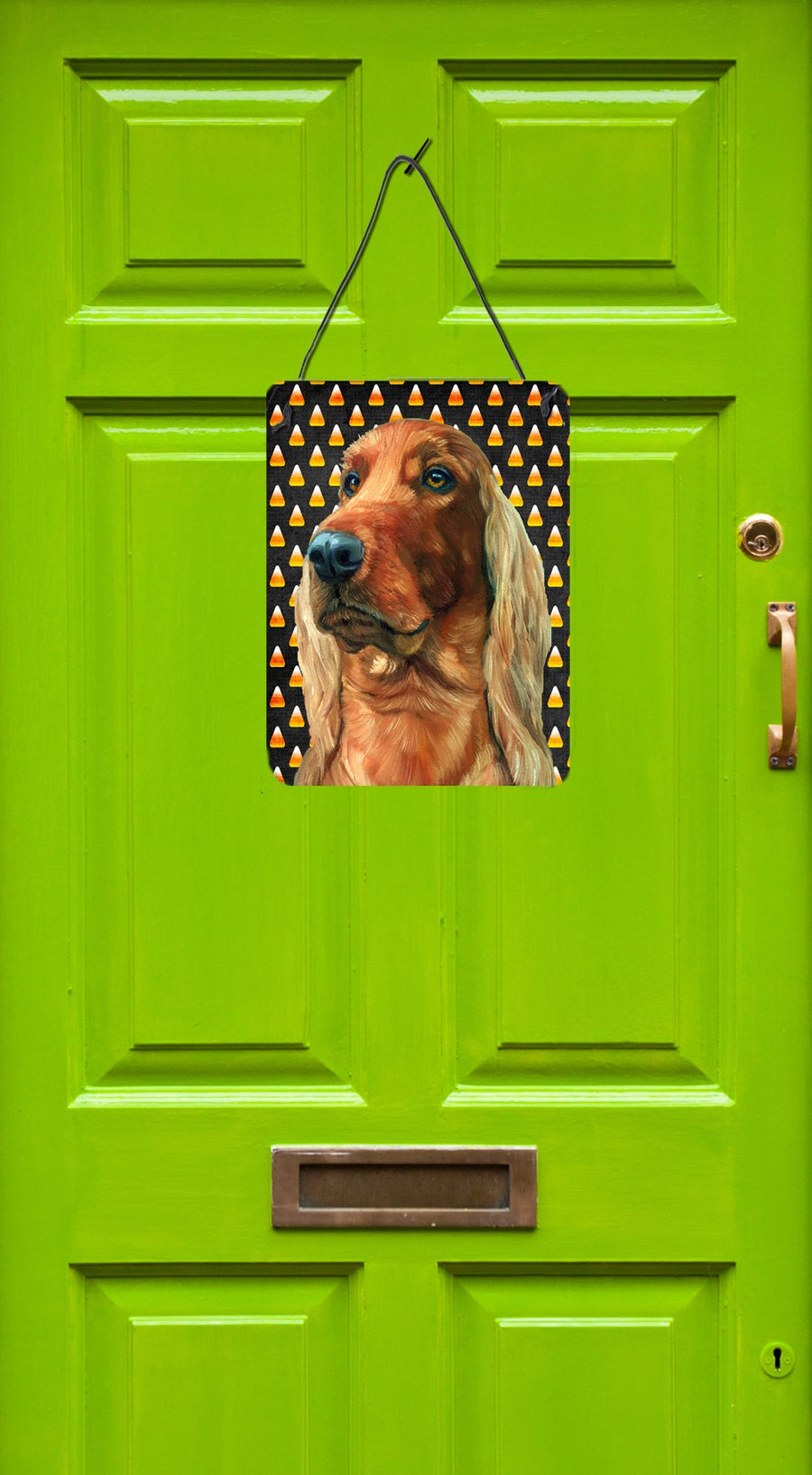 Buy this Irish Setter Candy Corn Halloween Wall or Door Hanging Prints LH9548DS1216