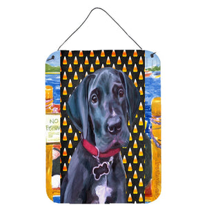 Buy this Black Great Dane Puppy Candy Corn Halloween Wall or Door Hanging Prints LH9551DS1216