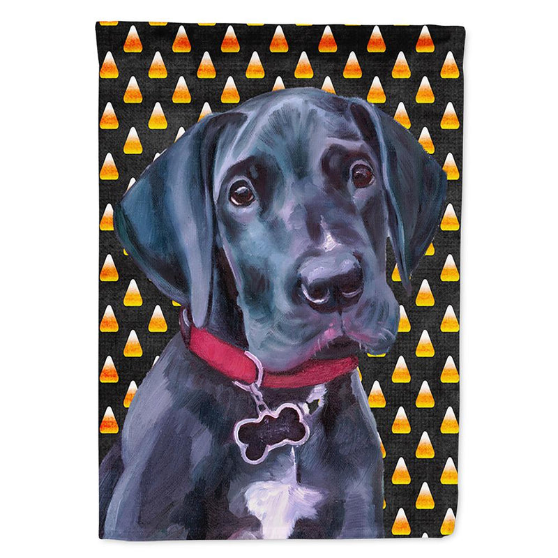 Buy this Black Great Dane Puppy Candy Corn Halloween Flag Garden Size