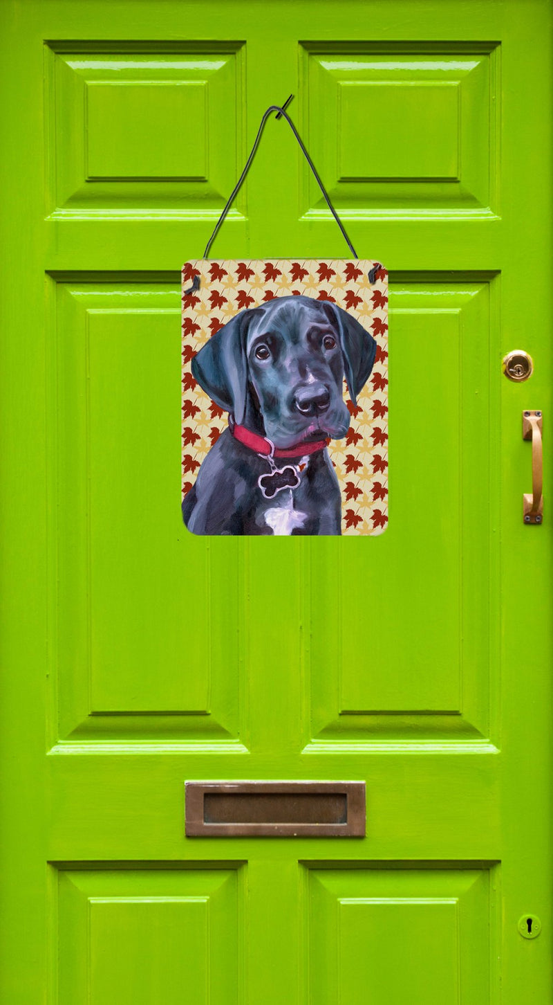 Buy this Black Great Dane Puppy Fall Leaves Wall or Door Hanging Prints LH9558DS1216