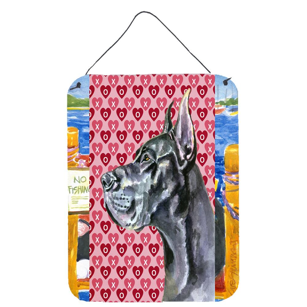 Buy this Black Great Dane Hearts Love and Valentine's Day Wall or Door Hanging Prints LH9564DS1216