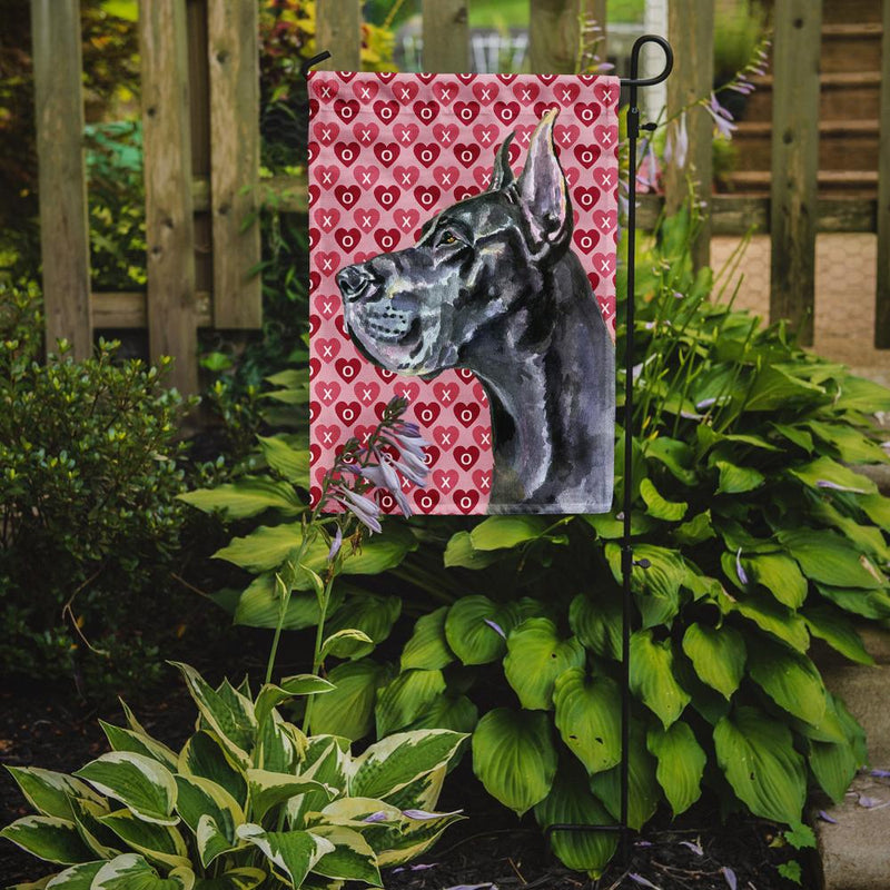 Buy this Black Great Dane Hearts Love and Valentine's Day Flag Garden Size LH9564GF
