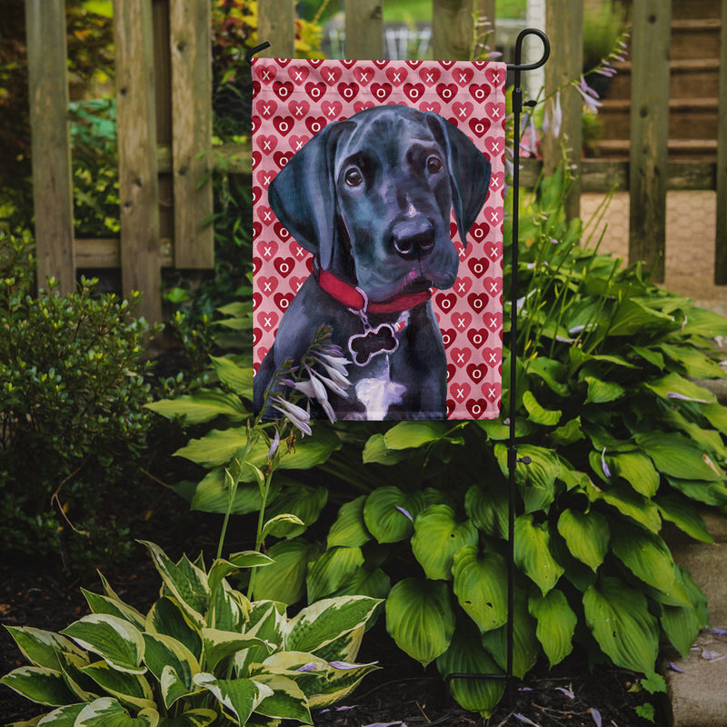 Buy this Black Great Dane Puppy Hearts Love and Valentine's Day Flag Garden Size LH9565GF
