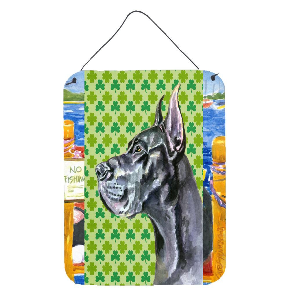 Buy this Black Great Dane St. Patrick's Day Shamrock Wall or Door Hanging Prints LH9571DS1216
