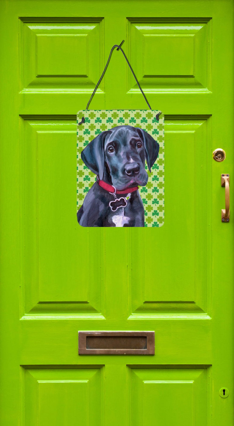 Buy this Black Great Dane Puppy St. Patrick's Day Shamrock Wall or Door Hanging Prints LH9572DS1216