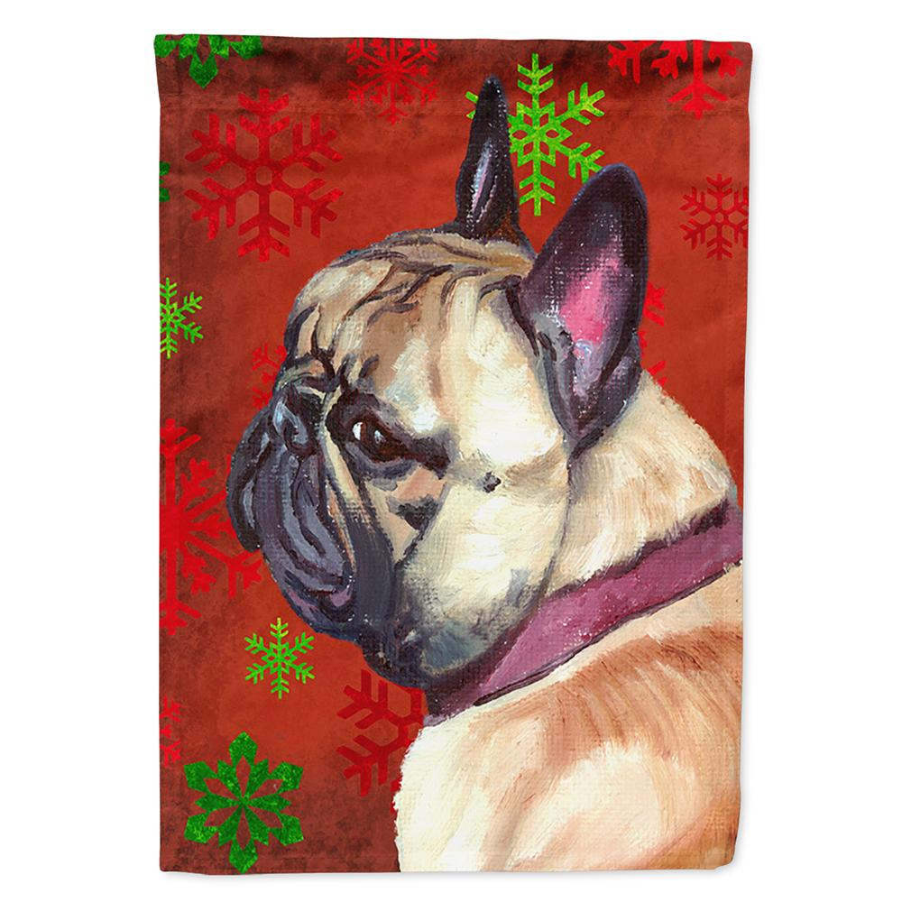 French Bulldog Frenchie Red Snowflakes Holiday Christmas Flag Garden Size LH9580GF by Caroline's Treasures