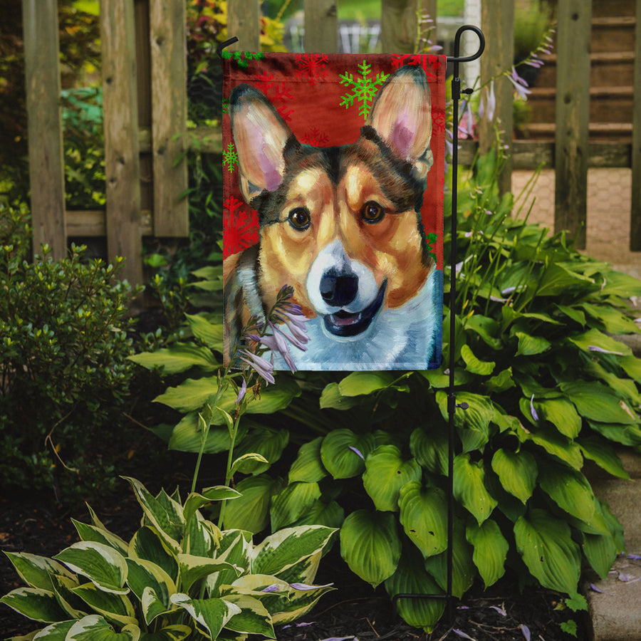 Buy this Corgi Red Snowflakes Holiday Christmas Flag Garden Size
