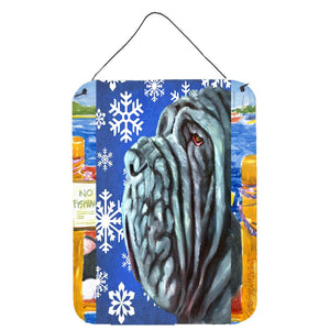 Buy this Neapolitan Mastiff Winter Snowflakes Holiday Wall or Door Hanging Prints LH9582DS1216