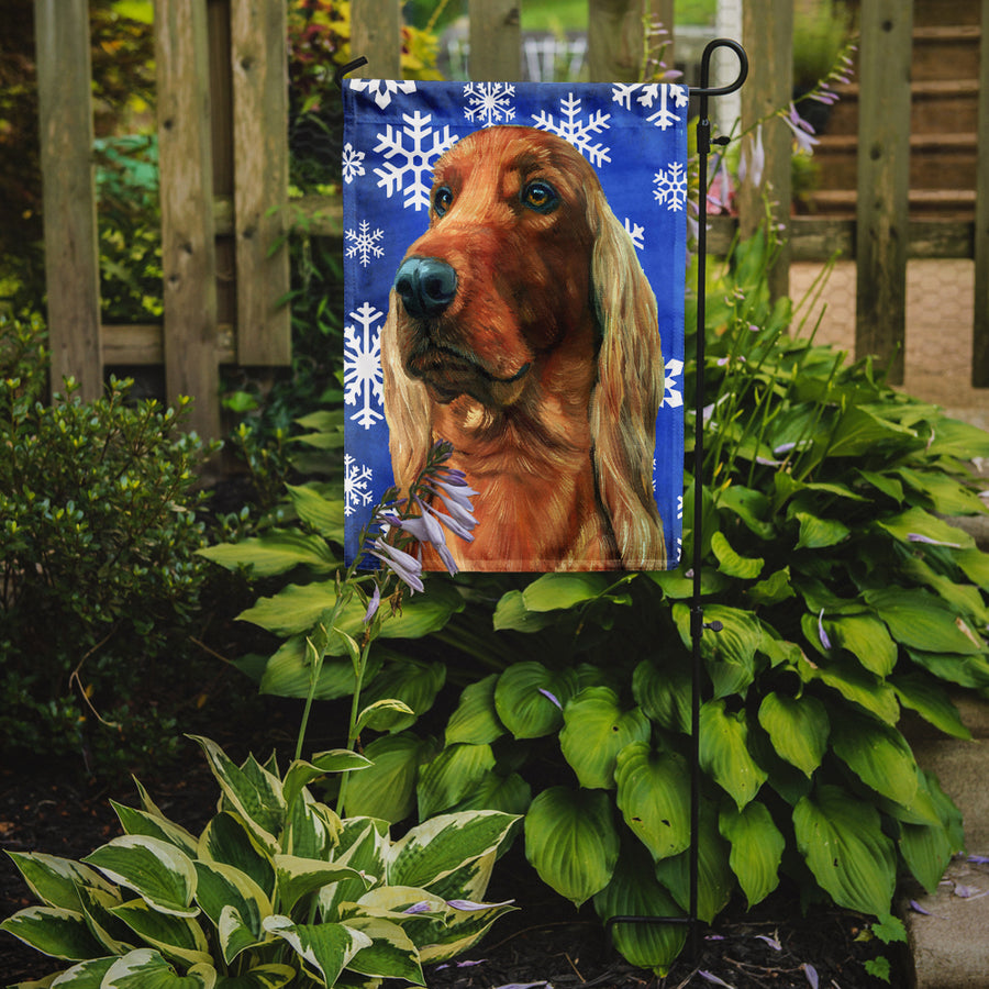 Buy this Irish Setter Winter Snowflakes Holiday Flag Garden Size LH9583GF