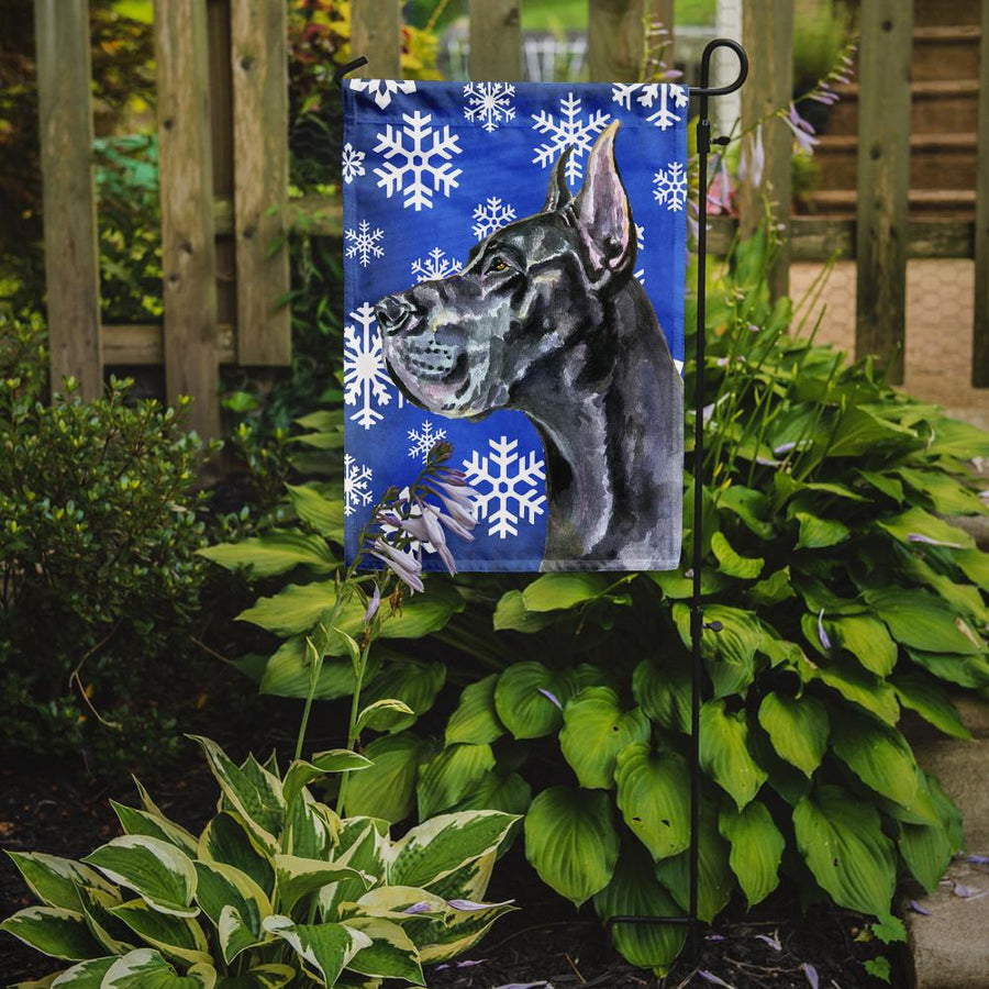 Buy this Black Great Dane Winter Snowflakes Holiday Flag Garden Size LH9585GF