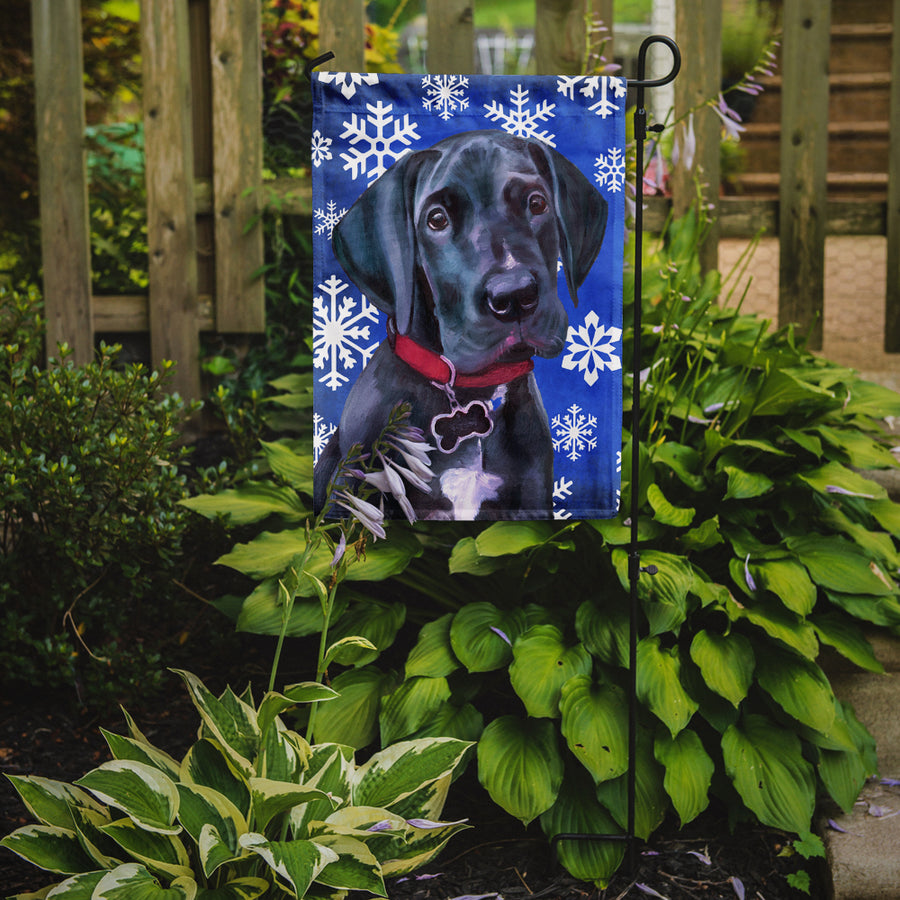 Buy this Black Great Dane Puppy Winter Snowflakes Holiday Flag Garden Size LH9586GF