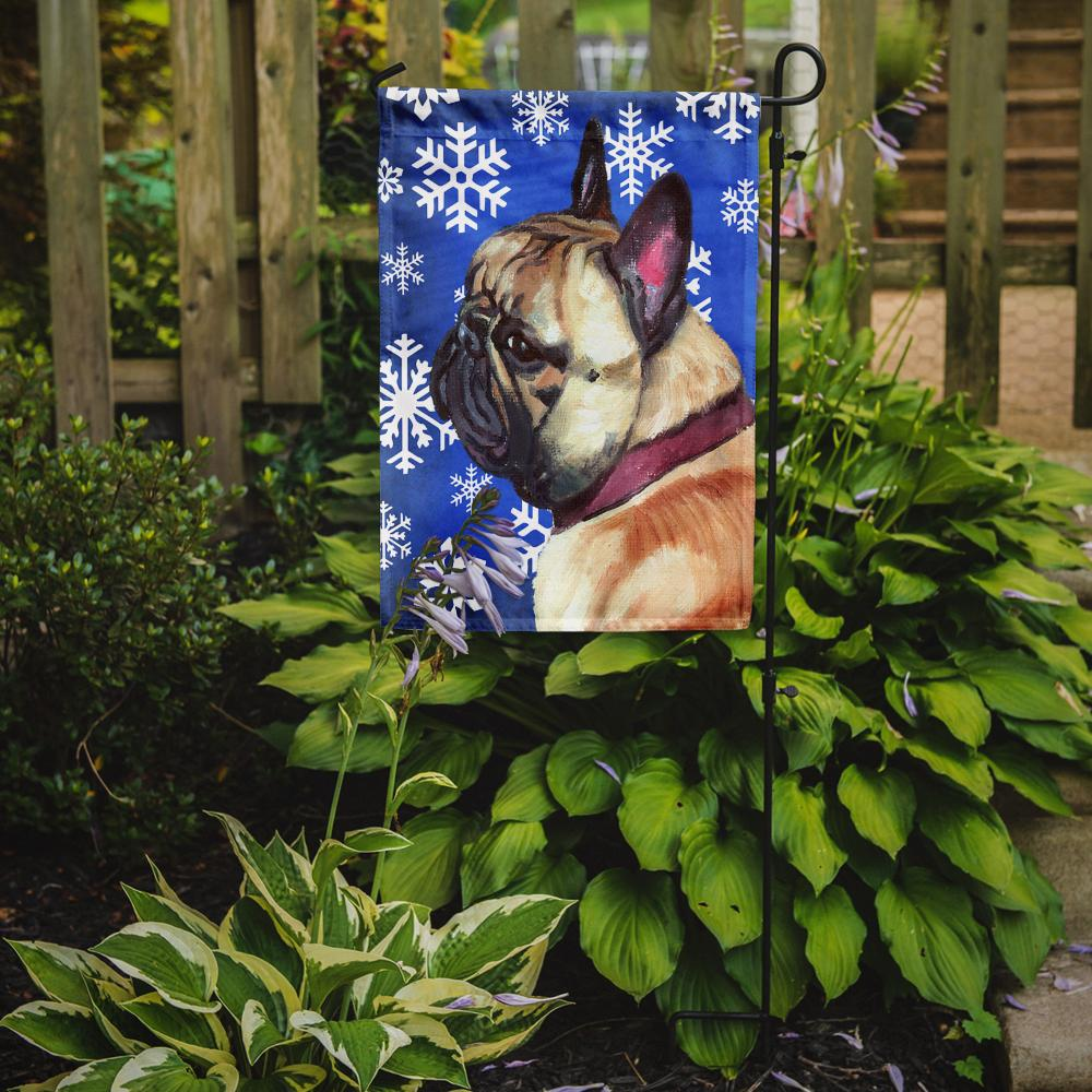 French Bulldog Frenchie Winter Snowflakes Holiday Flag Garden Size LH9587GF by Caroline's Treasures