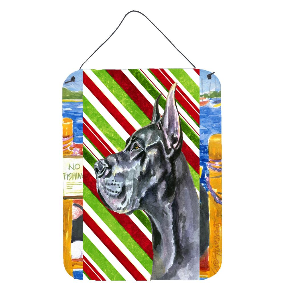 Buy this Black Great Dane Candy Cane Holiday Christmas Wall or Door Hanging Prints LH9592DS1216
