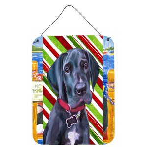 Buy this Black Great Dane Puppy Candy Cane Holiday Christmas Wall or Door Hanging Prints LH9593DS1216