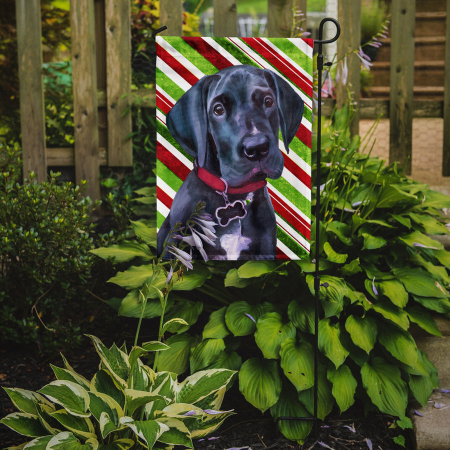 Buy this Black Great Dane Puppy Candy Cane Holiday Christmas Flag Garden Size LH9593GF