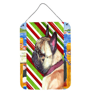Buy this French Bulldog Frenchie Candy Cane Holiday Christmas Wall or Door Hanging Prints LH9594DS1216