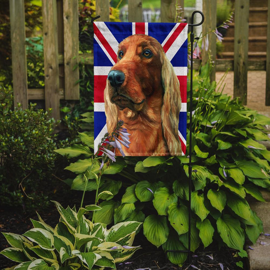 Buy this Irish Setter with English Union Jack British Flag Flag Garden Size LH9597GF