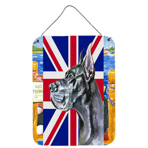 Buy this Black Great Dane with English Union Jack British Flag Wall or Door Hanging Prints LH9599DS1216