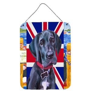 Buy this Black Great Dane Puppy with English Union Jack British Flag Wall or Door Hanging Prints LH9600DS1216