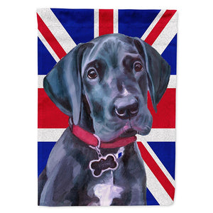 Buy this Black Great Dane Puppy with English Union Jack British Flag Flag Garden Size LH9600GF