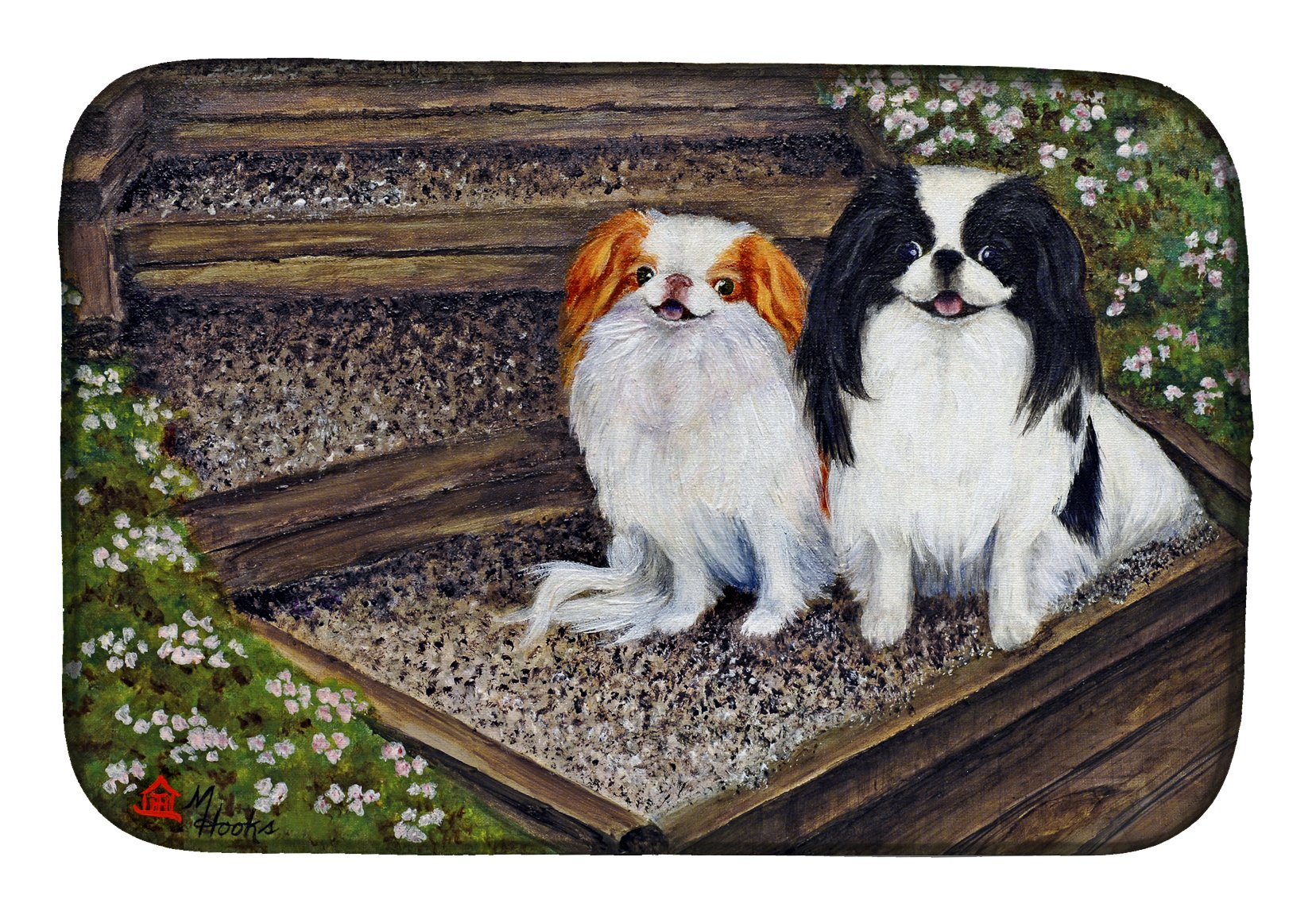 Japanese Chin Daddy's Girls Dish Drying Mat MH1047DDM by Caroline's Treasures