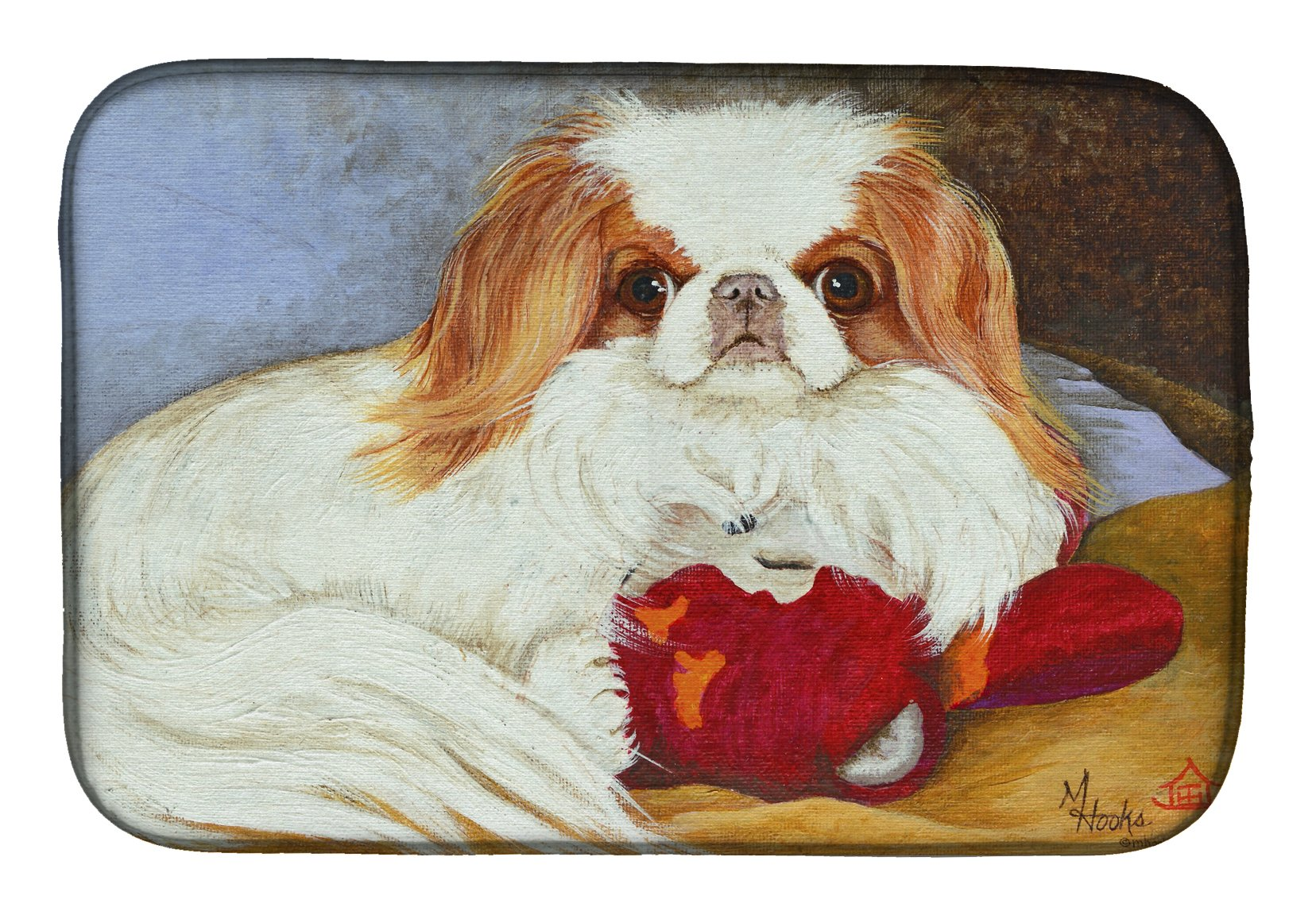 Japanese Chin Pink Gorilla Dish Drying Mat MH1049DDM by Caroline's Treasures