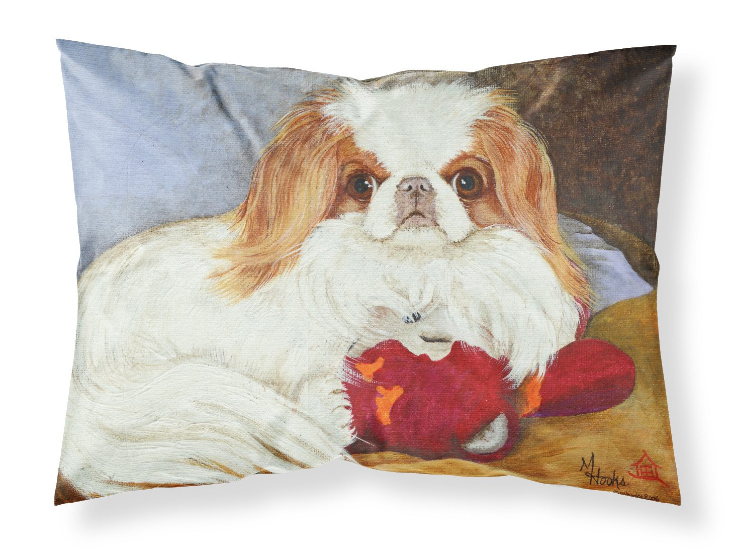 Japanese Chin Pink Gorilla Fabric Standard Pillowcase MH1049PILLOWCASE by Caroline's Treasures