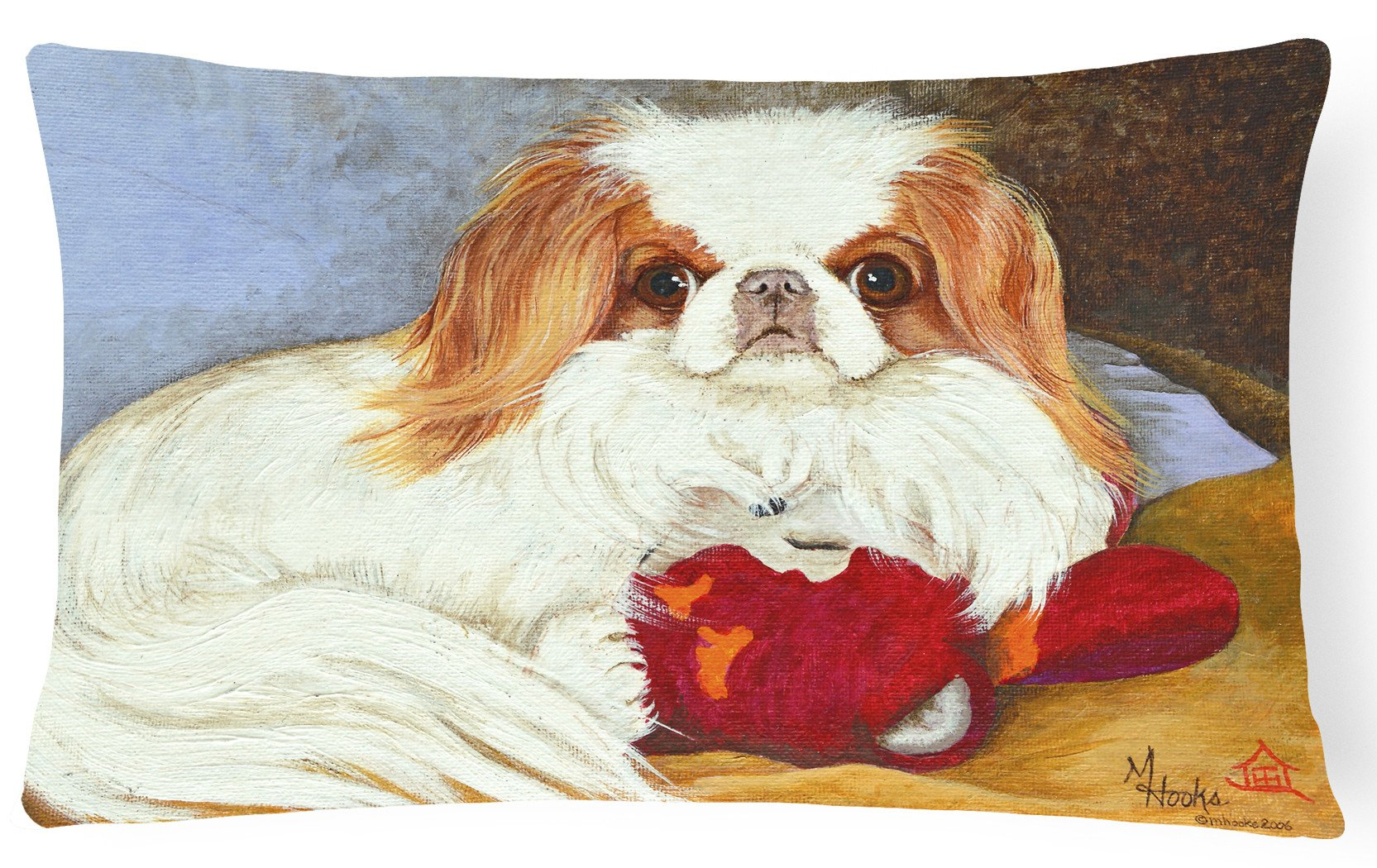 Japanese Chin Pink Gorilla Fabric Decorative Pillow MH1049PW1216 by Caroline's Treasures
