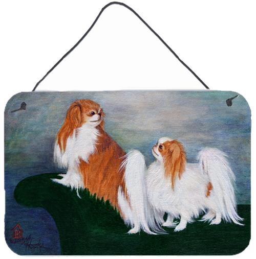 Japanese Chin Standing on my tail Wall or Door Hanging Prints by Caroline's Treasures