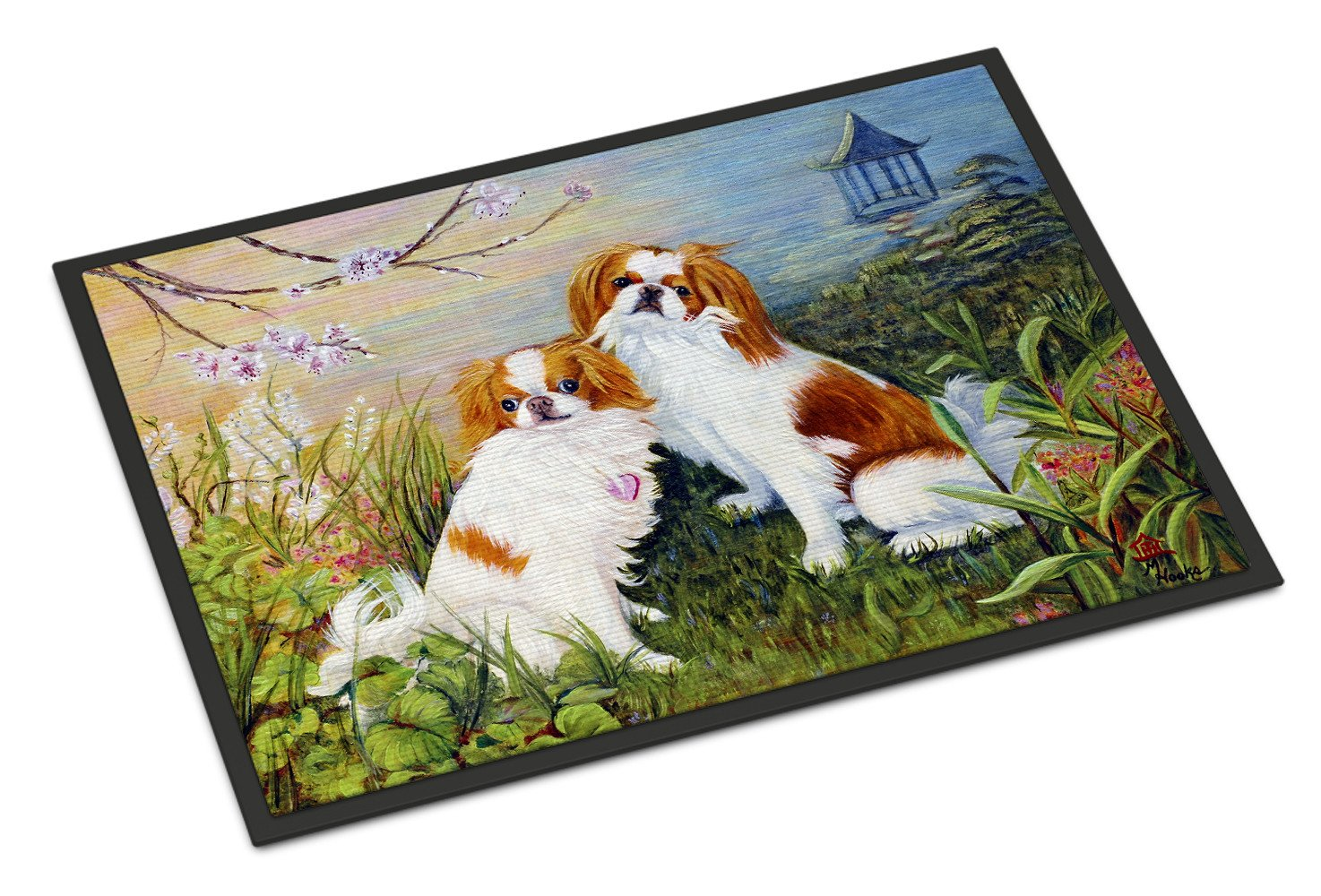 Japanese Chin Wasabi and Ginger Indoor or Outdoor Mat 18x27 MH1061MAT by Caroline's Treasures