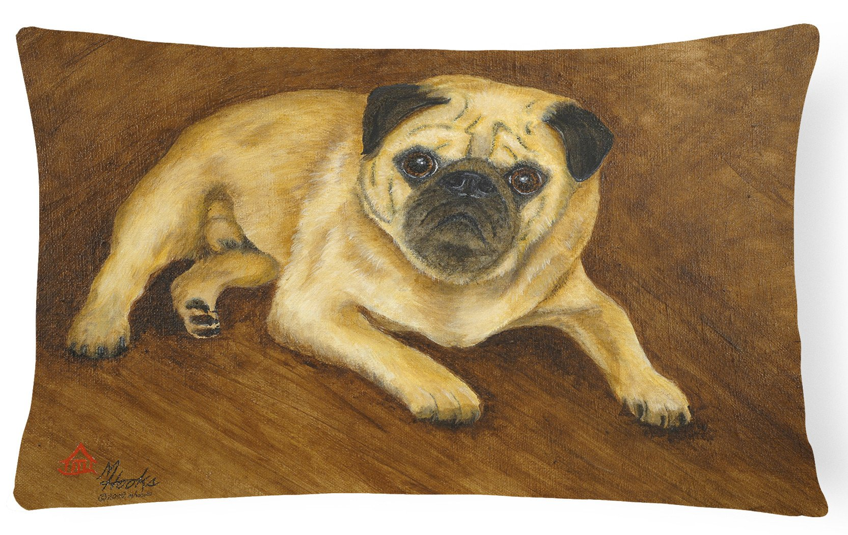 Fawn Pug Roscoe Fabric Decorative Pillow MH1062PW1216 by Caroline's Treasures