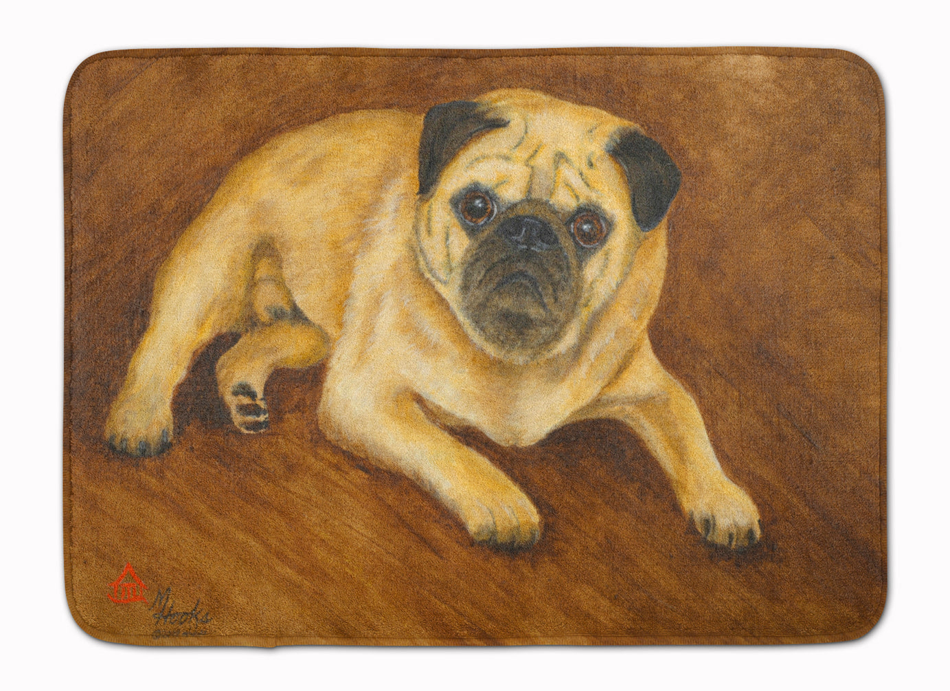 Fawn Pug Roscoe Machine Washable Memory Foam Mat MH1062RUG by Caroline's Treasures
