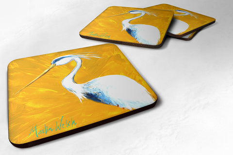 Buy this Set of 4 Bird - Blue Heron Col Mustard Foam Coasters