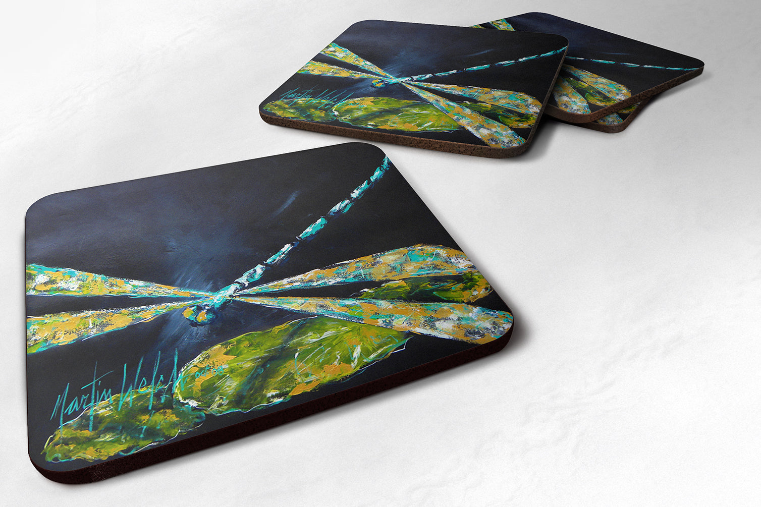 Set of 4 Insect - Dragonfly Night Flight Dark Blue Foam Coasters by Caroline's Treasures