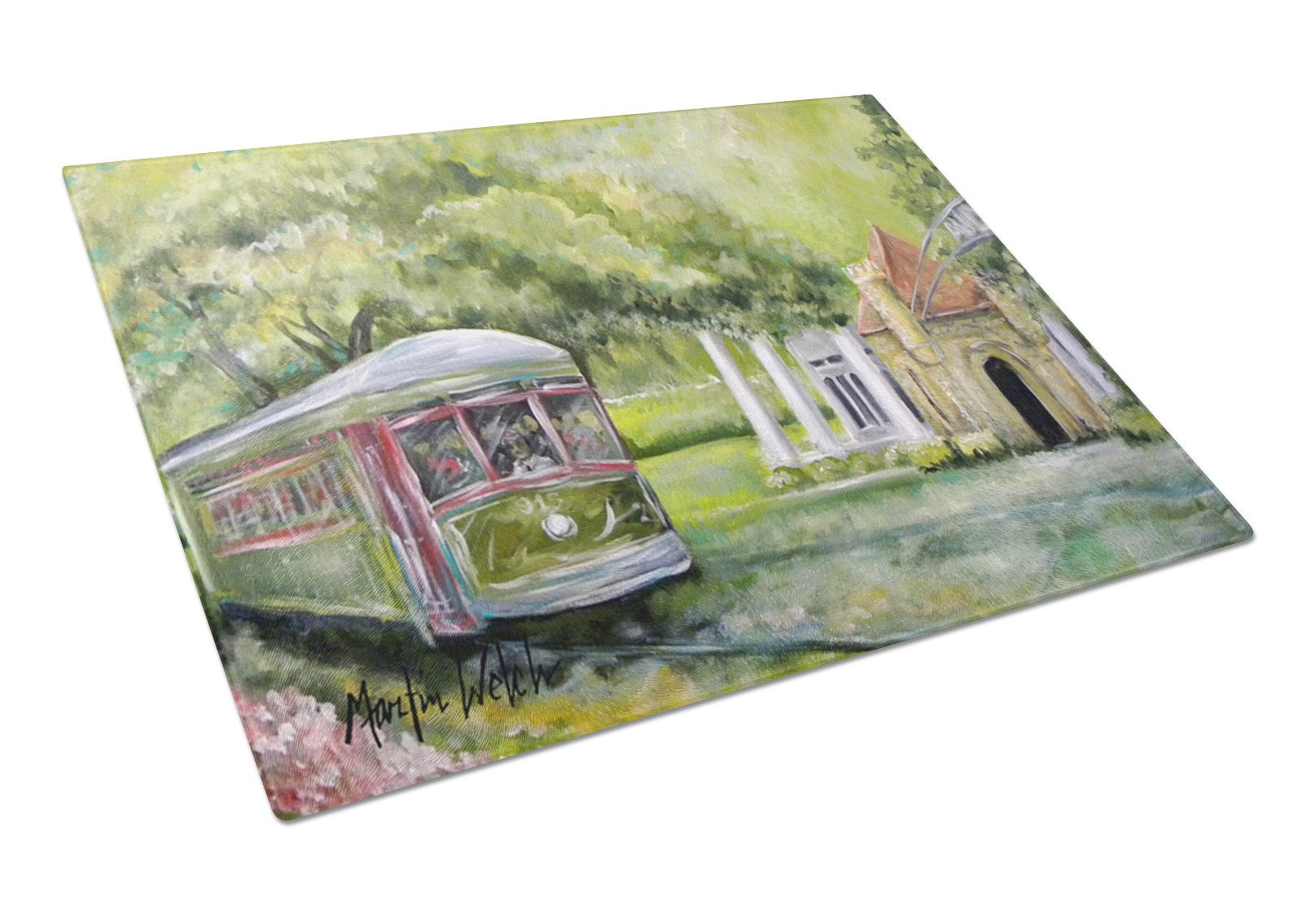 Streetcar Next Stop Audubon Park Glass Cutting Board Large by Caroline's Treasures