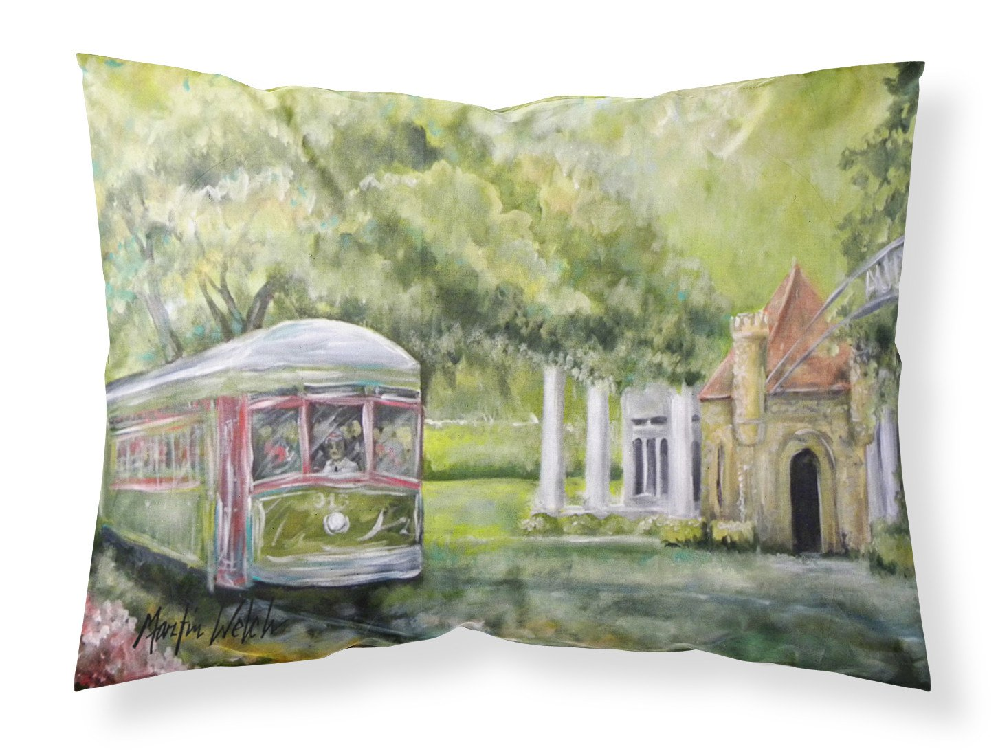 Streetcar Next Stop Audubon Park Moisture wicking Fabric standard pillowcase by Caroline's Treasures